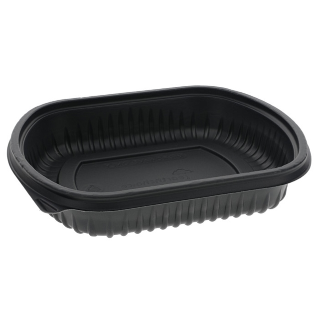 "24 oz, 8"" x 6.5"" x 1.5""  Microwavable Rectangle Takeout Container Base, Black, 252 ct."