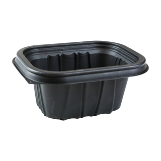 "12 oz., 6X4"" Microwavable Rectangle Takeout Container Base, Black, 600 ct."