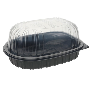 "10"" x 7.5"" x 4"" Microwavable Medium Roaster Takeout Container, Black Base with Clear Dome, 95 ct."