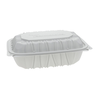 "9"" x 6"" x 3.1"" Vented Microwavable 1-Compartment Hinged-Lid Takeout Container, White, 170ct."