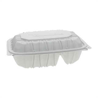 "9"" x 6"" x 3.1"" Vented Microwavable 2-Compartment Hinged-Lid Takeout Container, White, 170ct."