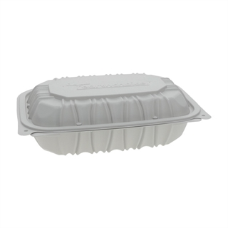 "9"" x 6"" x 2.75"" Microwavable 1-Compartment Hinged-Lid Takeout Container, White, 170ct."