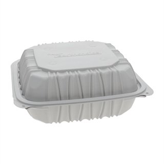 "8.5"" x 8.5"" x 3.1"" Vented Microwavable 1-Compartment Hinged-Lid Takeout Container, White, 146ct."