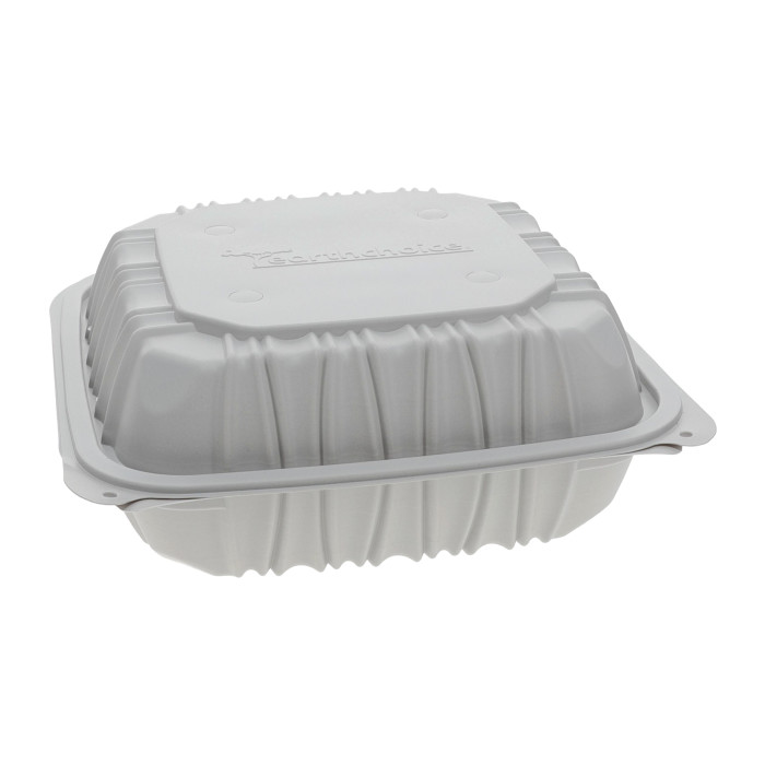 "8.5"" x 8.5"" x 3.1"" Vented Microwavable 3-Compartment Hinged-Lid Takeout Container, White, 146 ct."