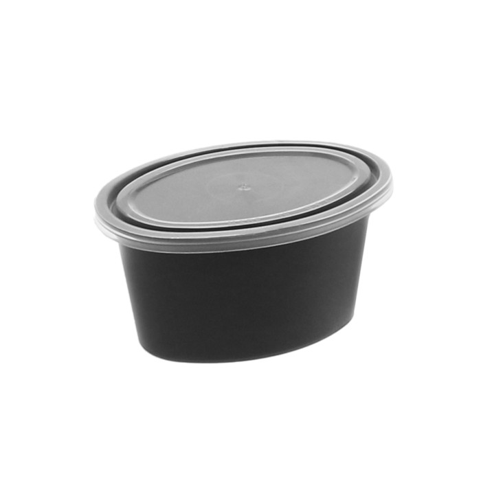 Ellipso® 2 oz. Microwavable Portion Cup and Lid Combo, Black, 1000 ct.