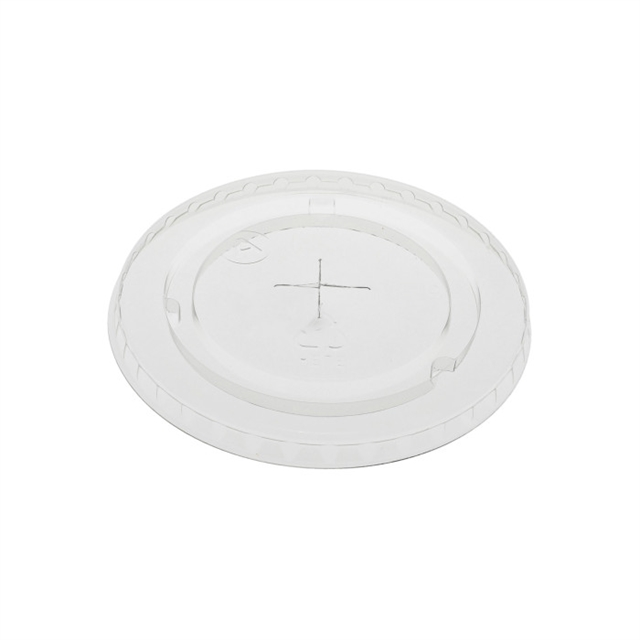 Recycled Plastic Flat Lid with Straw Slot for 20 oz RPET Cups, Clear, 1020 ct.