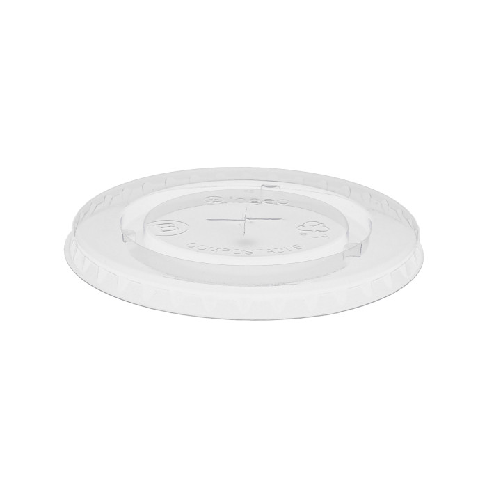 Compostable Flat Lid for 12–24 oz. Cold Cup, Clear, 915 ct.