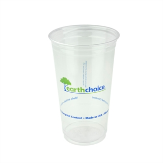 24 oz Recycled Plastic Clear Printed Cup, 600 ct.