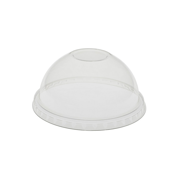 Recycled Plastic Dome Lid with No Hole for 12 oz. Sundae & 16/24 oz. RPET Cups, Clear, 900 ct.