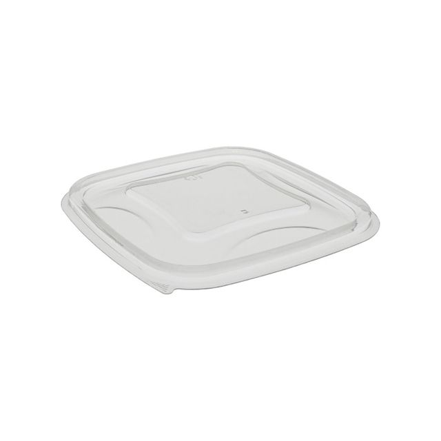 "5"" x 5"" Recycled Plastic Square Flat Lid for 8, 12, 16 oz base, Clear, 504 ct."