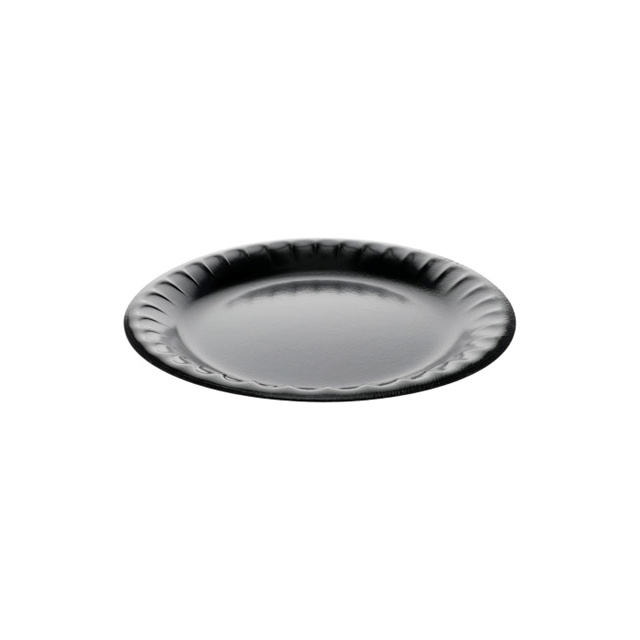 "9"" 1-Compartment Round Laminated Foam Plate, Black, 500 ct."