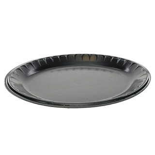 "10"" X 12.5"" 1-Compartment Oval Laminated Foam Platter, Black, 600 ct."