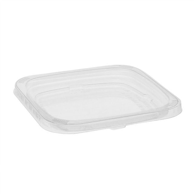 "4"" Recycled Plastic Square Flat Recessed Deli Container Lid, Clear, 960 ct."
