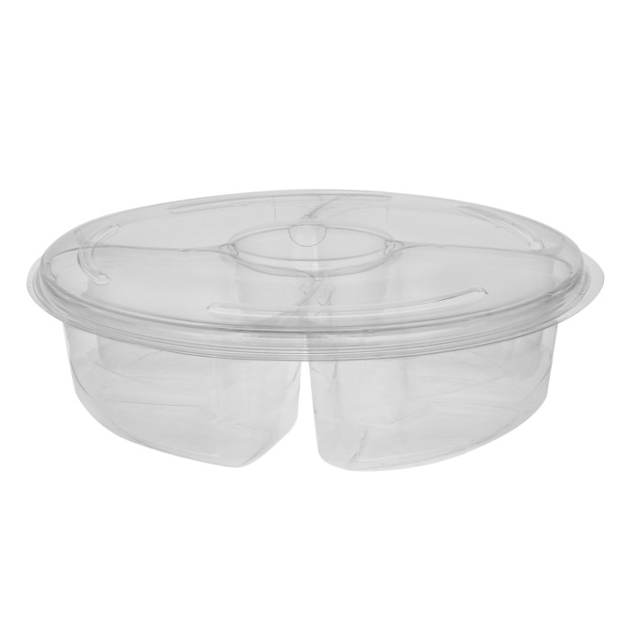 "10.25"" 4-Compartment Round Platter with Dip Cup and Lid Combo, Clear, 72 ct."