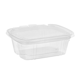 12 oz Tamper Resistant Recycled Plastic Hinged Deli Container, Clear, 200ct.