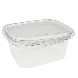 16 oz Tamper Resistant Recycled Plastic Hinged Deli Container, Clear, 200ct.