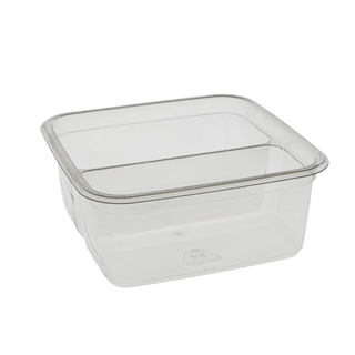 "6"" Square 32oz RPET Container - 2 compt"